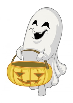 Personaje fantasma de dibujos animados sostenga la calabaza de halloween