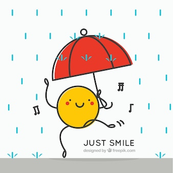 Personaje feliz bailando con paraguas