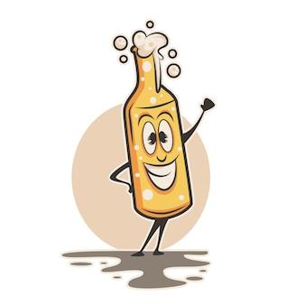 Personaje feliz botella de cerveza