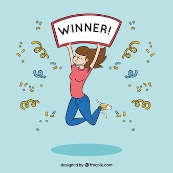 Personaje feliz de dibujos animados ganando un premio