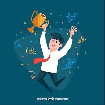 Personaje feliz ganando un premio con diseño plano