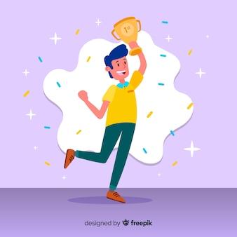 Personaje feliz ganando premio en diseño plano