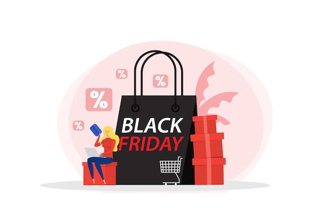 Personaje femenino apoyado en grandes bolsas de la compra. venta de viernes negro en computadora portátil