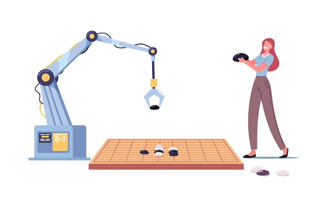 Personaje femenino y brazo robot tocando gobang
