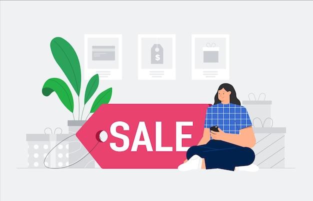Personaje femenino de compras en línea en casa y se sienta en una etiqueta de descuento.