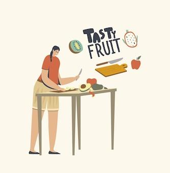 Personaje femenino corta frutas para hacer batidos o ensaladas frescas para una alimentación saludable