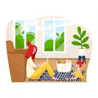 El personaje femenino cuida al bebé y el lugar de trabajo remoto, el problema de la mujer independiente para trabajar en el hogar aislado en blanco, ilustración de dibujos animados.
