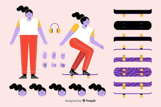 Personaje femenino de dibujos para diseño de movimiento