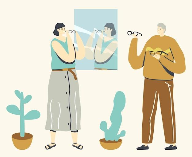 Personaje femenino elegir anteojos delante del espejo en la pared