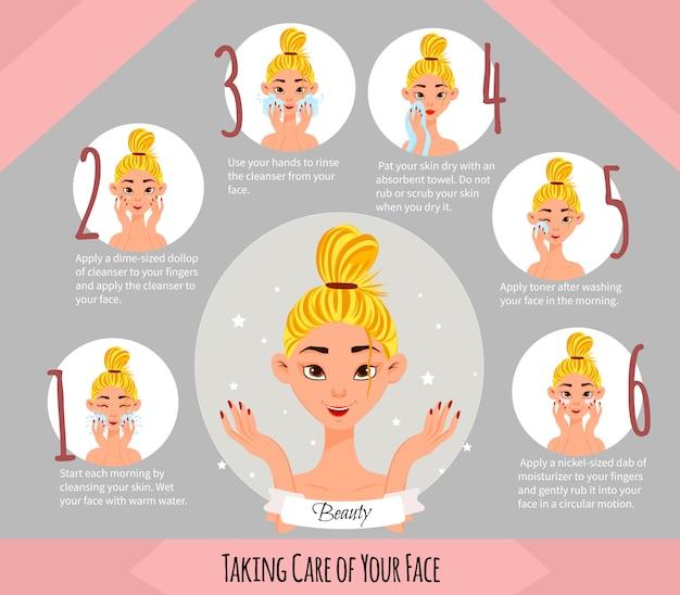Personaje femenino con esquema de cuidado de la piel facial. estilo de dibujos animados