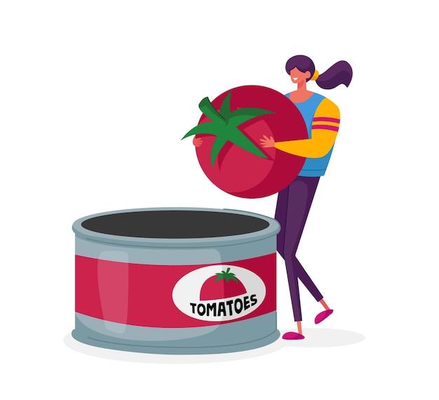 Personaje femenino en la fábrica de conservas poner tomate fresco en un recipiente enlatado