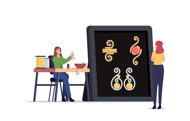 Personaje femenino haciendo joyas de hilo de alambre de cobre y perlas de colores en el hilo. artesanía creativa, pasatiempo hecho a mano. mujer crea concepto de bisutería pulsera o collar. ilustración vectorial de dibujos animados