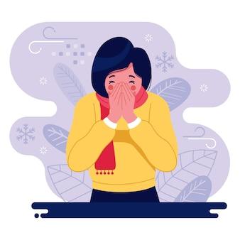 Personaje femenino ilustrado con un resfriado
