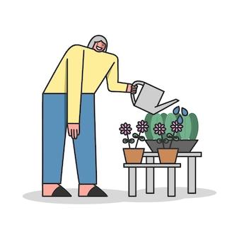 Personaje femenino sonriente cuida de flor