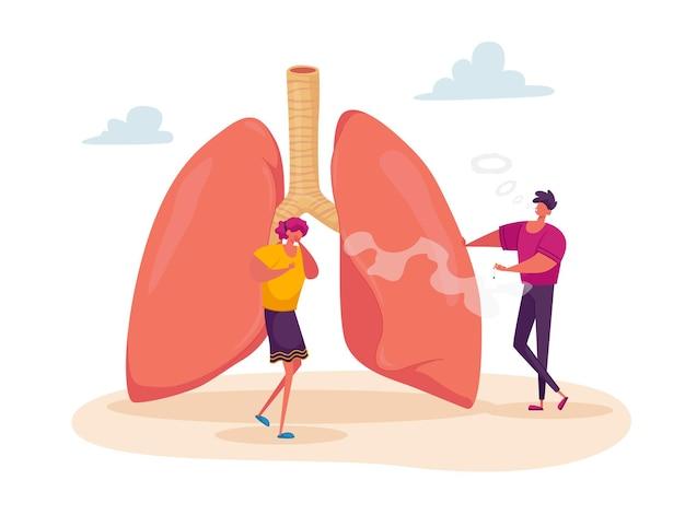 Personaje femenino tosiendo cerca de pulmones enormes con hombre fumador cerca