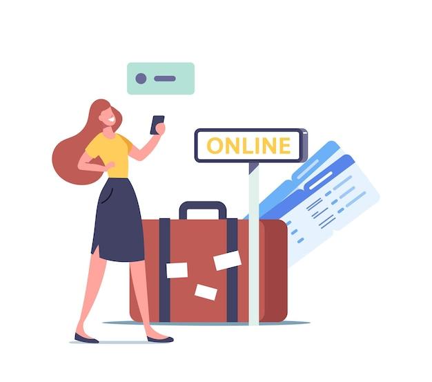 Personaje femenino uso de tecnología de aplicaciones de viaje mujer viajero uso de la aplicación de teléfono móvil para buscar vuelos