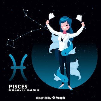 Personaje femenino zodíaco dibujado a mano