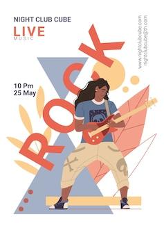 Personaje en el festival de música rock en vivo toca la guitarra