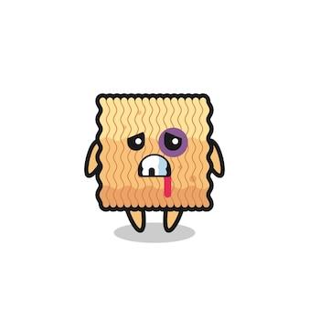Personaje de fideos instantáneos crudos herido con una cara magullada, diseño de estilo lindo para camiseta, pegatina, elemento de logotipo