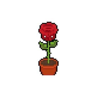 Personaje de flor rosa de dibujos animados de pixel art.