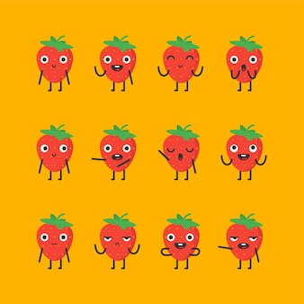 El personaje de fresa establece diferentes opciones y emociones. ilustración de vector.