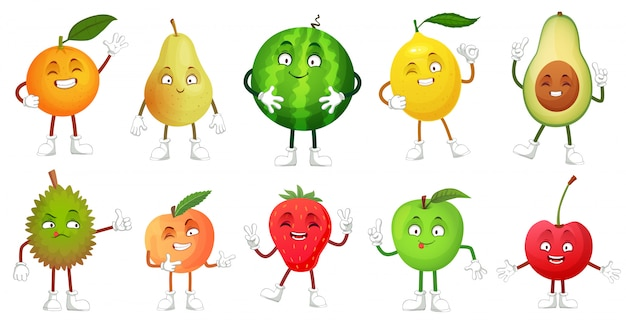Personaje de fruta de dibujos animados, mascota de frutas felices divertido durian, sonriente manzana y pera, conjunto de alimentos frescos y saludables