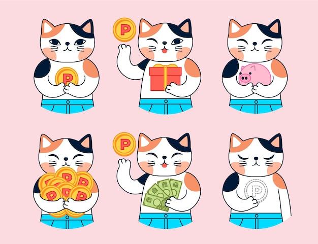 Personaje de gato japonés dibujado a mano recogiendo puntos