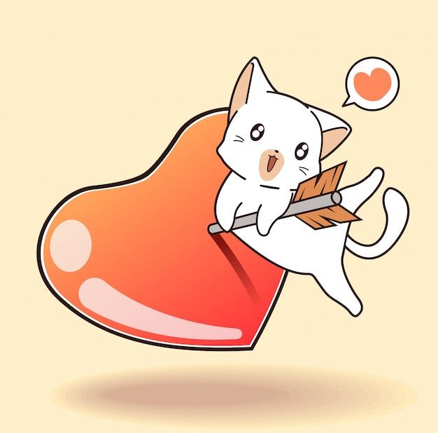El personaje del gato kawaii está abrazando la flecha que está pegando el corazón de gelatina