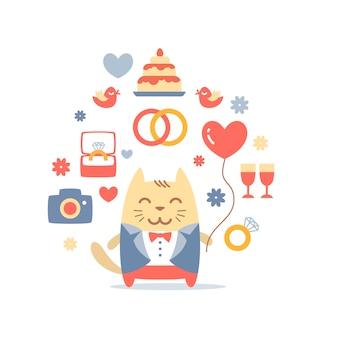 Personaje gato novio en un traje de boda sosteniendo un globo