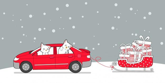 El personaje del gato de la pancarta dentro del automóvil está agarrando un trineo en un día de invierno