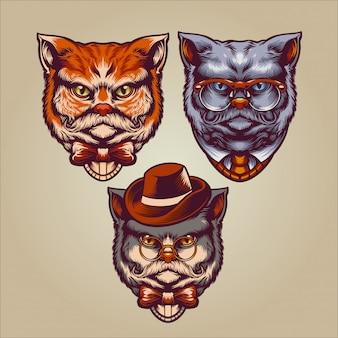 Personaje de gatos caballero