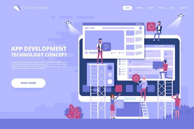 Personaje de gente pequeña decorado con tecnología de negocios web. ilustración del concepto