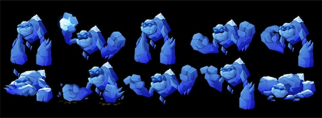 Personaje de golem de hielo en diferentes poses.