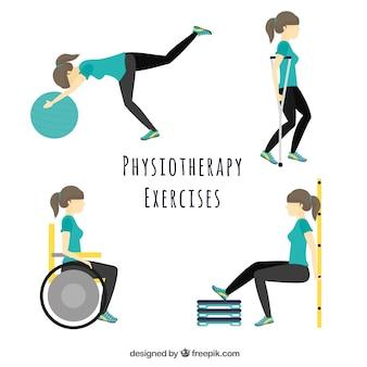 Personaje haciendo diferentes ejercicios de fisioterapia