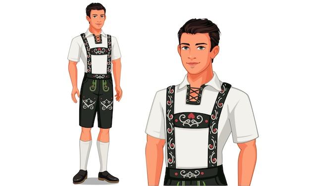 Personaje del hombre alemán en traje tradicional.