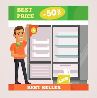 Personaje de hombre asistente de tienda vendiendo electrodomésticos ilustración de dibujos animados plana