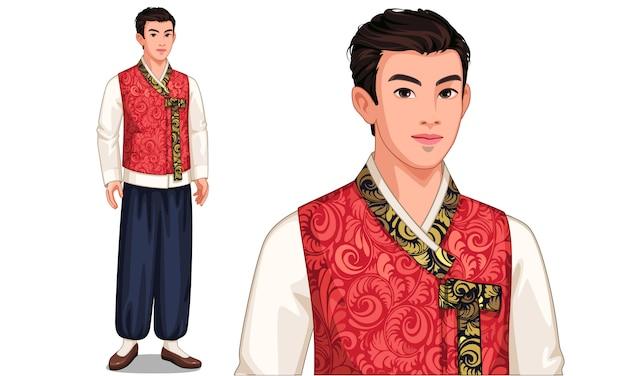 Personaje del hombre de corea del sur en traje tradicional.