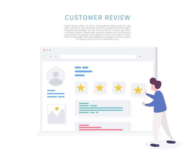 El personaje del hombre da una calificación de revisión y los comentarios dan calificación de revisión y comentarios