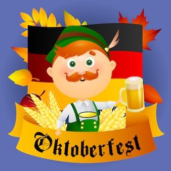 Personaje de hombre de dibujos animados de oktoberfest con cerveza