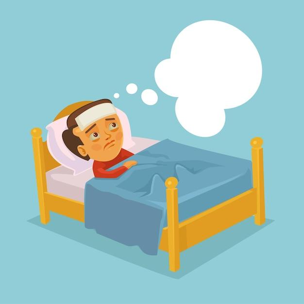 Personaje de hombre con gripe resfriado y acostado en la cama ilustración de dibujos animados