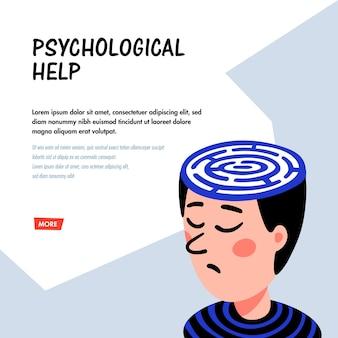 Personaje de hombre con un laberinto en la cabeza ayuda psicológica