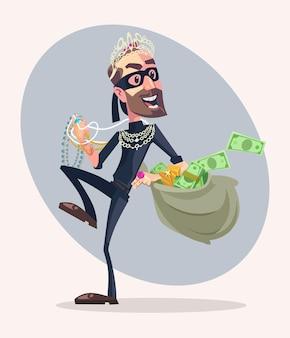 Personaje de hombre ladrón robó dinero y joyas ilustración de dibujos animados plana
