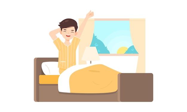 El personaje del hombre se levanta en la habitación de la cama por la mañana