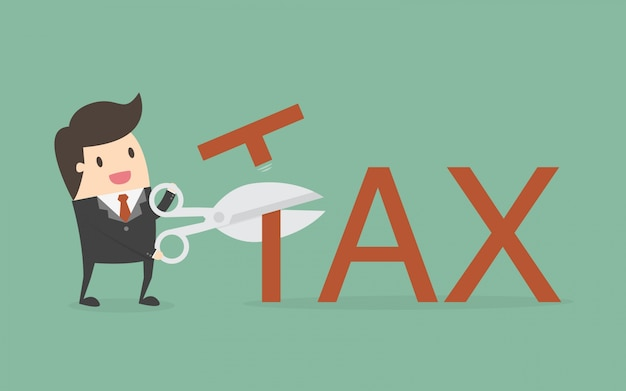 Personaje de hombre de negocios cortando impuestos