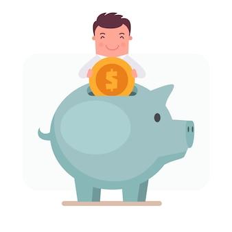 Personaje de hombre de negocios echando dinero en una hucha