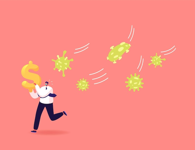 Personaje de hombre de negocios en máscara escapa del enorme ataque de células de coronavirus con dólar en manos