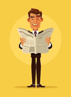 Personaje de hombre de oficinista sorprendido leyó el periódico.