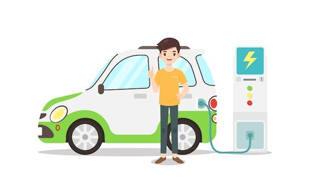 El personaje del hombre está parado con su auto ecológico