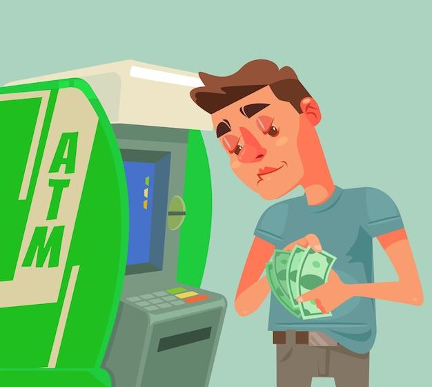 Personaje de hombre recibe y cuenta dinero cerca de cajeros automáticos