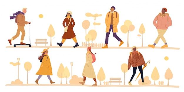 Personaje de ilustración caminando parque otoño